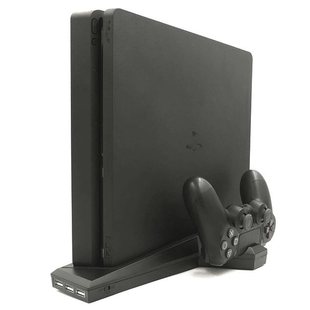 Base Vertical con ventilador y cargador de Dualshock PS4