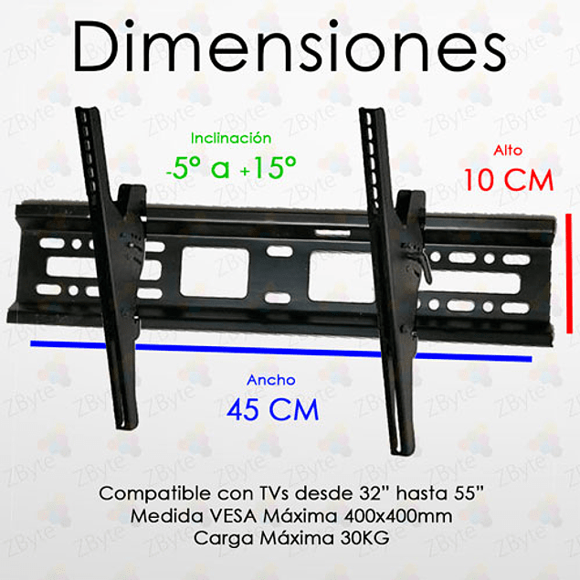 Soporte Tv Inclinación Led, Plasma, Lcd Universal 32 A 55