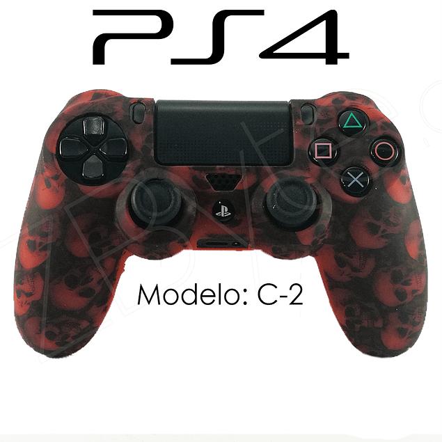 Silicona PS4 Calaveras Rojo + Análogos