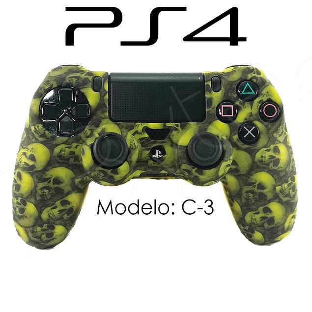 Silicona PS4 Calaveras Amarillo + Análogos
