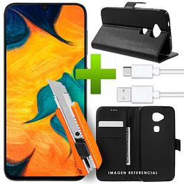 Pack Flip Cover Premium + Vidrio + USB Galaxy A20 / A30