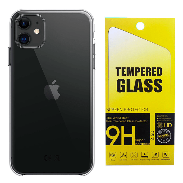 Pack Carcasa Transparente Ultra Thin + Mica Vidrio iPhone 11