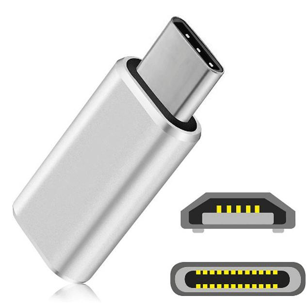 Adaptador Micro USB A USB Tipo C OTG Metalico