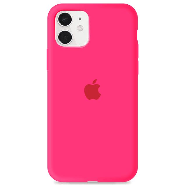Carcasa Fucsia Silicona Logo Apple iPhone 11