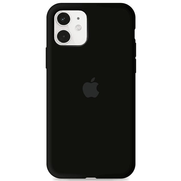 Carcasa Negra Silicona Logo Apple iPhone 11