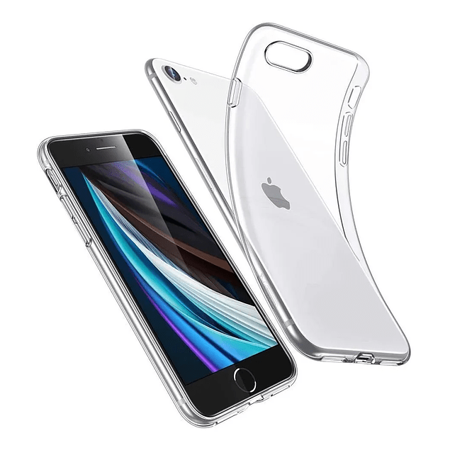 Pack Carcasa Transparente Ultra Thin + Mica Vidrio iPhone SE 2020
