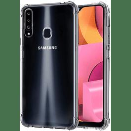 Pack Carcasa Transparente Reforzada + Mica Vidrio Samsung Galaxy A20s