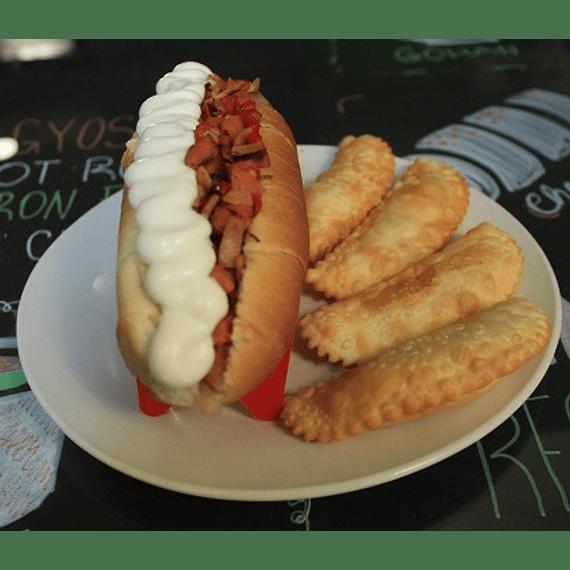 Hot dog español+ 4 empanaditas de queso