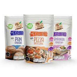 Pack Mezcla Lista Pan Casero, Pizza Integral y Empanada Casera