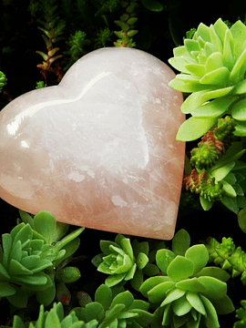 Corazón Cuarzo Rosado-1 unidades de 5 x 6cm