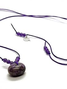 Collar Frecuencia Rayo Violeta - Amatista y Charoita