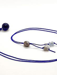 Collar Frecuencia Rayo Azul - Lapislázuli, Azurita, Agata de encaje azul, Aguamarina