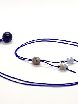 Collar Frecuencia Azul - Lapislázuli, Azurita, Agata de encaje azul, Aguamarina