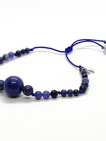 Pulsera Frecuencia Rayo Azul - Lapislázuli, Azurita, Agata de encaje azul, Aguamarina