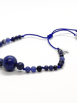 Pulsera Frecuencia Azul - Lapislázuli, Azurita, Agata de encaje azul, Aguamarina