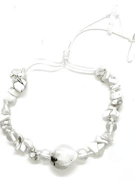 Pulsera Frecuencia Rayo Blanco - Labradorita blanca, Howlita,