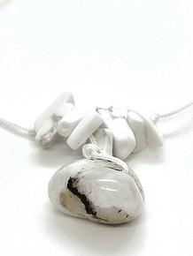 Collar Frecuencia Rayo Blanco - Labradorita blanca, Howlita,