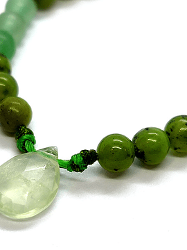 Pulsera Frecuencia Verde - Jade, Prehnita, Aventurina, Peridoto
