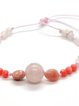 Pulsera Frecuencia Rayo Rosa - Cuarzo Rosa, Rodocrosita, Turmalina rosa, Coral rosa