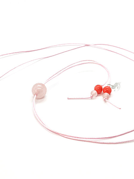 Collar Frecuencia Rayo Rosa - Cuarzo Rosa, Rodocrosita, Turmalina rosa, Coral rosa