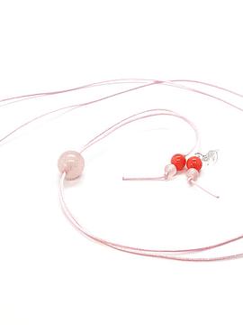 Collar Frecuencia Rosa - Cuarzo Rosa, Rodocrosita, Turmalina rosa, Coral rosa