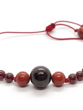 Pulsera Frecuencia Rojo -Granate, Jaspe Rojo