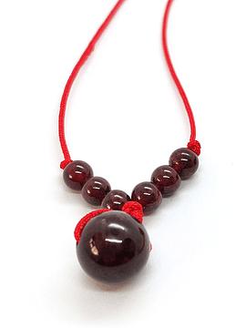 Collar Frecuencia Rojo -Granate, Jaspe Rojo