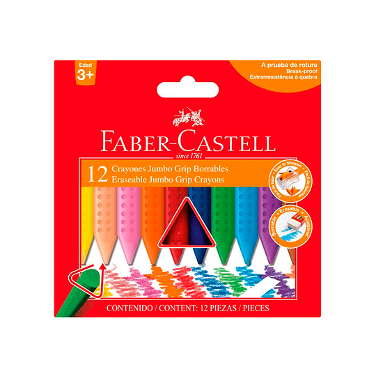 Crayones de Colores Triangular  Jumbo Grip  Borrables 12 colores.
